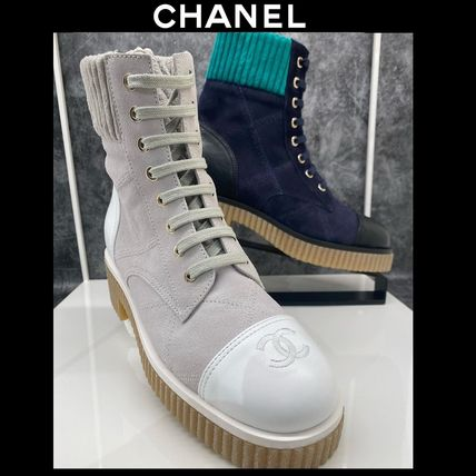 CHANEL Platform Plain Toe Round Toe Lace-up Casual Style