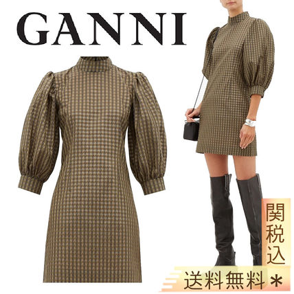 Short Gingham Casual Style Tight Cropped Cotton Party Style