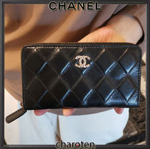 CHANEL ICON Unisex Plain Leather Long Wallet  Small Wallet Long Wallets