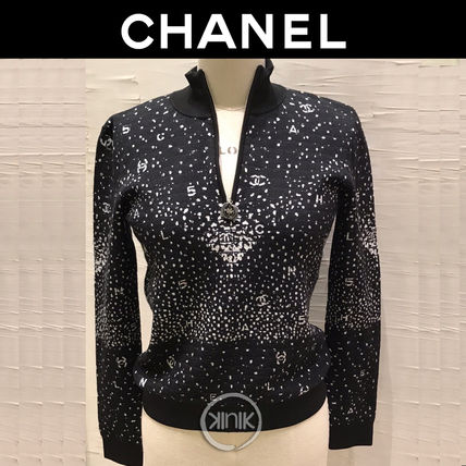 CHANEL Casual Style Wool Long Sleeves Elegant Style Logo