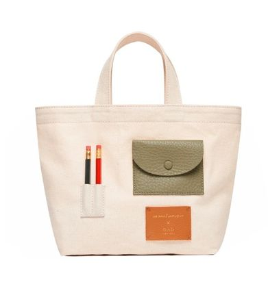 Canvas Casual Style Collaboration Plain Elegant Style Totes