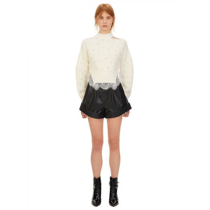 Short Casual Style Wool Blended Fabrics Long Sleeves