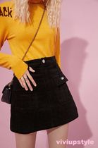 ELF SACK Short Corduroy Plain Mini Skirts