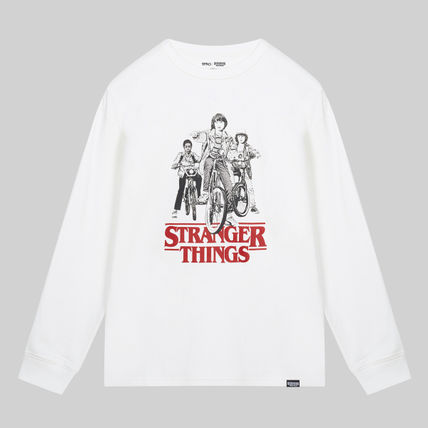 Unisex Street Style U-Neck Collaboration Long Sleeves