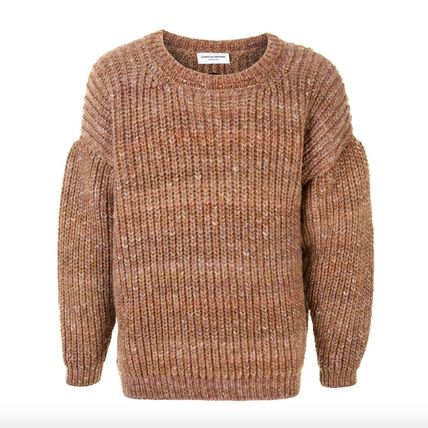 Logo Crew Neck Cable Knit Pullovers Wool Nylon Long Sleeves