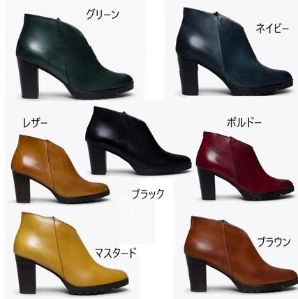 Plain Toe Casual Style Plain Leather Block Heels