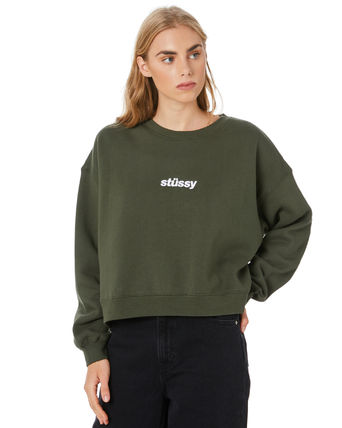 STUSSY Short Street Style Long Sleeves Plain Cotton Oversized Logo