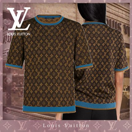 Louis Vuitton MONOGRAM Crew Neck Monogram Wool Silk Nylon Blended Fabrics Bi-color