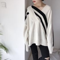 Cable Knit Casual Style Street Style V-Neck Bi-color