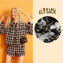 ELF SACK Other Plaid Patterns Casual Style Tweed Blended Fabrics