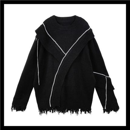 HARSH AND CRUEL Vests & Gillets Pullovers Unisex Low Gauge Street Style Long Sleeves Cotton