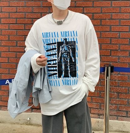 Street Style Collaboration Long Sleeves Plain Cotton