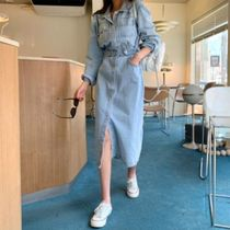 Casual Style Maxi A-line Denim Flared Street Style V-Neck