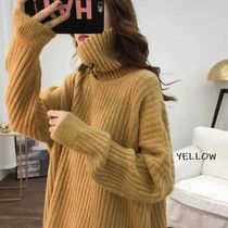Short Casual Style Nylon Rib Long Sleeves Plain Medium