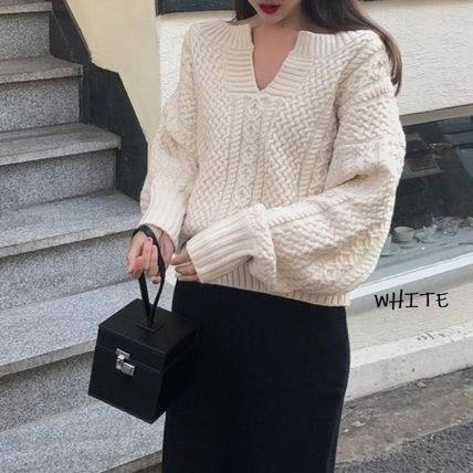 Cable Knit Casual Style Wool Nylon Rib Street Style V-Neck
