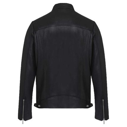 DIESEL Short Plain Leather Logo Biker Jackets