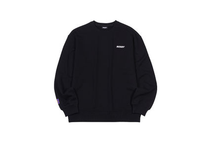 Unisex Street Style Plain Cotton Oversized Logo Sweatshirts