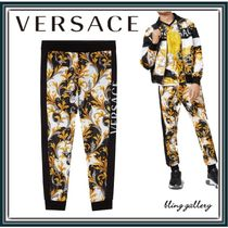VERSACE Printed Pants Cotton Logo Patterned Pants