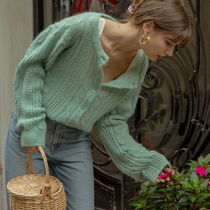 LENINA Casual Style Wool Nylon Street Style Long Sleeves Plain