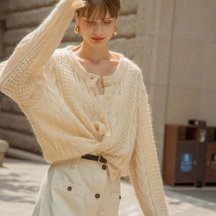 Casual Style Wool Nylon Street Style Long Sleeves Plain
