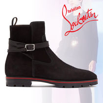 Christian Louboutin Suede Street Style Plain Logo Engineer Boots