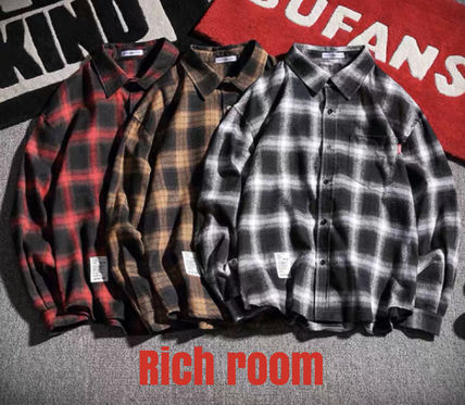 Shirts Other Plaid Patterns Street Style Long Sleeves Oversized