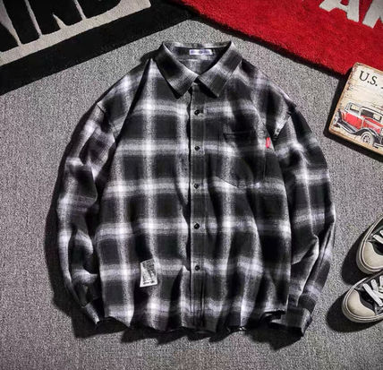 Shirts Other Plaid Patterns Street Style Long Sleeves Oversized 2