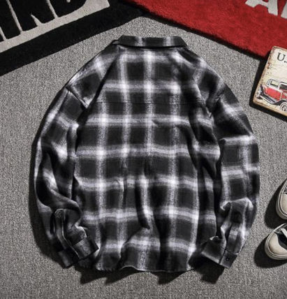 Shirts Other Plaid Patterns Street Style Long Sleeves Oversized 3