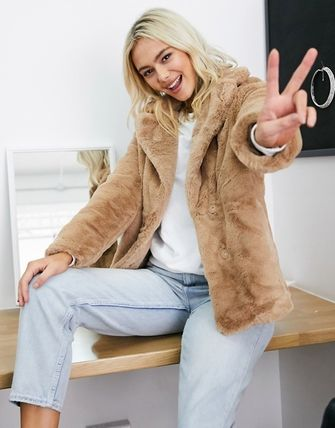 Short Faux Fur Plain Cashmere & Fur Coats