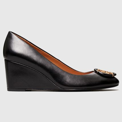 Tory Burch Round Toe Plain Leather Party Style Office Style