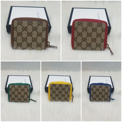 GUCCI Canvas Folding Wallet Long Wallet  Logo Flower Patterns
