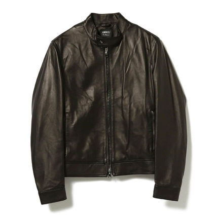 Street Style Plain Leather Biker Jackets