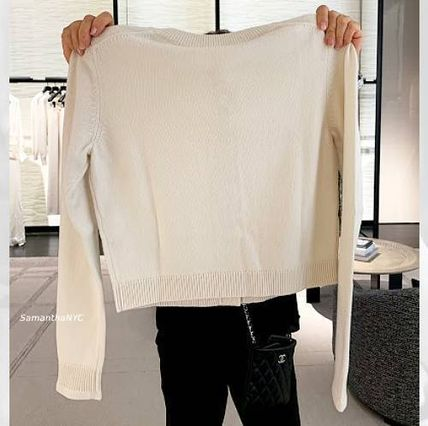 CHANEL ICON Casual Style Cashmere Long Sleeves Plain Medium Office Style