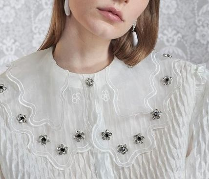 Casual Style Peplum Short Sleeves With Jewels Elegant Style