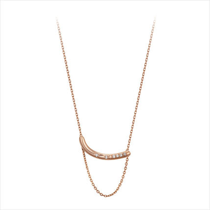 Casual Style Chain With Jewels Office Style 14K Gold