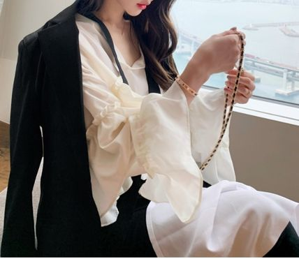 Short Casual Style Chiffon Long Sleeves Plain Medium