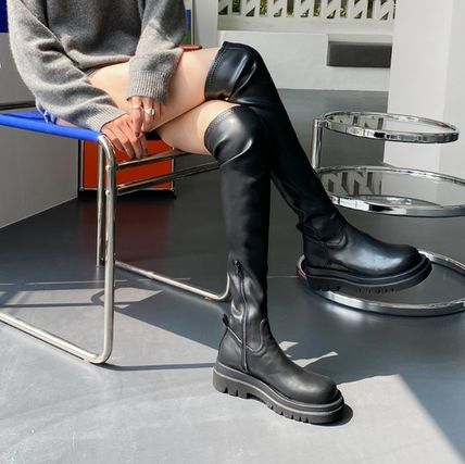 Platform Round Toe Rubber Sole Faux Fur Over-the-Knee Boots