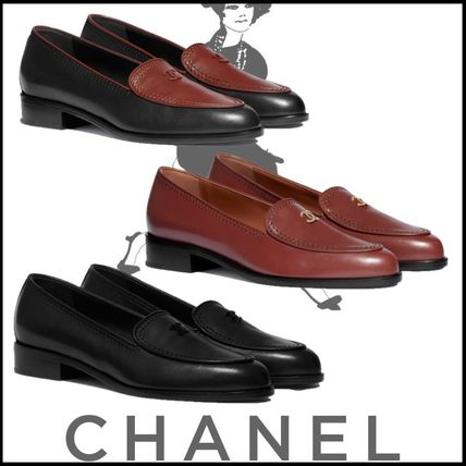 CHANEL Platform Plain Toe Casual Style Street Style Plain Leather