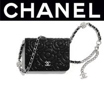 CHANEL ICON Flower Patterns Casual Style Calfskin Blended Fabrics Chain