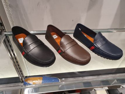 GUCCI Stripes Plain Toe Moccasin Leather Loafers & Slip-ons