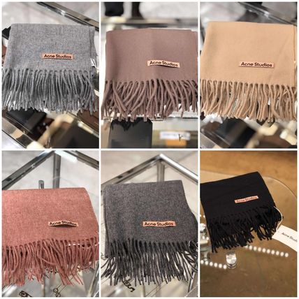 Plain Logo Knit & Fur Scarves
