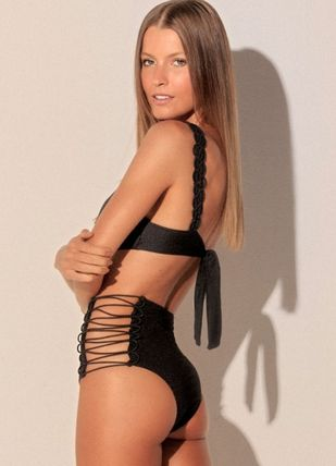Street Style Plain Brazilian Lace Up Swimwear