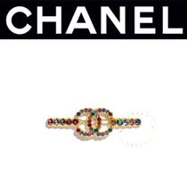 CHANEL ICON Barettes Casual Style Blended Fabrics Street Style