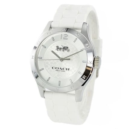 Coach Casual Style Unisex Silicon Round Party Style Quartz Watches