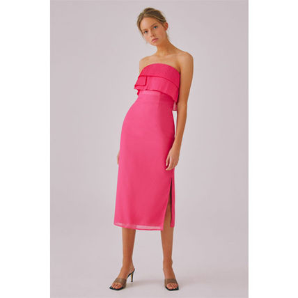Tight Sleeveless Plain Medium Party Style Midi Elegant Style