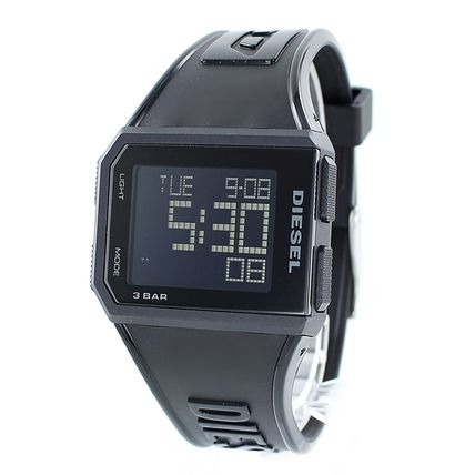 DIESEL Casual Style Unisex Silicon Square Digital Watches