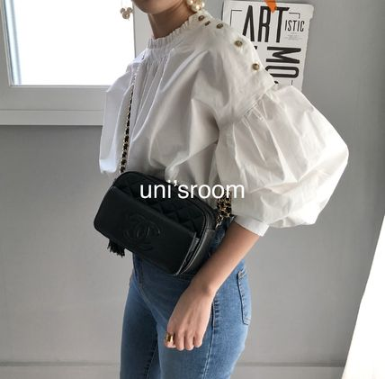 Short Long Sleeves Plain Medium Puff Sleeves Asymmetry