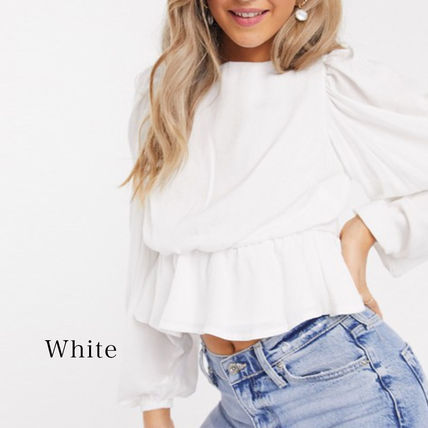 Casual Style Long Sleeves Plain Puff Sleeves