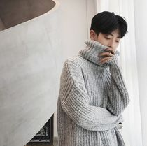 Pullovers Street Style Long Sleeves Plain Oversized Sweaters