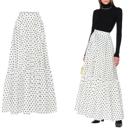 Flared Skirts Dots Cotton Long Party Style Midi